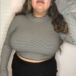 Plus Size Striped Crop Top